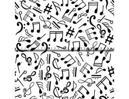 Лонета десен на бяла основа черни ноти