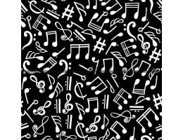 Лонета десен на черна основа с бели ноти