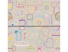 Лонета десен с кухненски принадлежности
