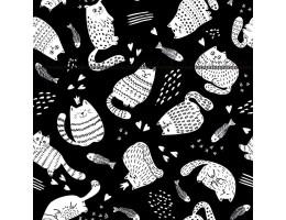 Лонета десен черна осна с бели котки