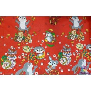 Покривка за маса на червен фон с великденски зайчета платове Турция