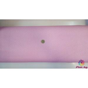 Ранфорс бебешко розова основа на малки бели точки от Турция