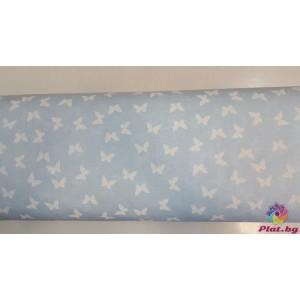 Ранфорс бебешко синьа основа на бели пеперуди платове Турция
