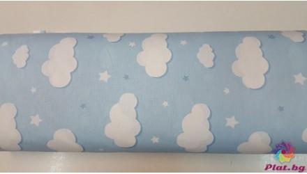 Ранфорс бебешко синя основа с облаци