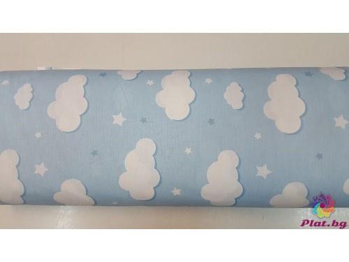 Ранфорс бебешко синя основа с облаци произведено в Турция