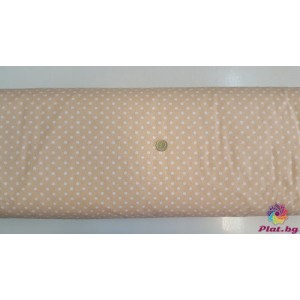 Ранфорс бежово с розово оттенък основа на големи бели точки плат Турция
