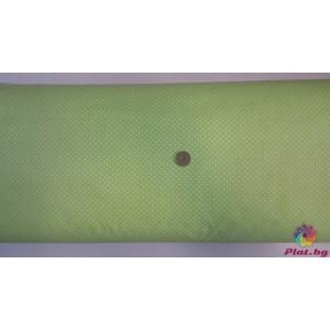 Ранфорс бледо зелена основа на малки бели точки произведено в Турция