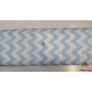 Ранфорс бяла основа на бебешко синьо най-голям зиг заг платове Турция