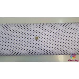 Ранфорс бяла основа на голeми лилави точки произведено в Турция