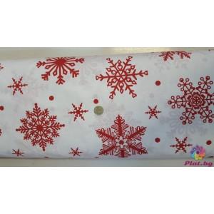 Ранфорс бяла основа на червени малки и големи снежинки плат Турция