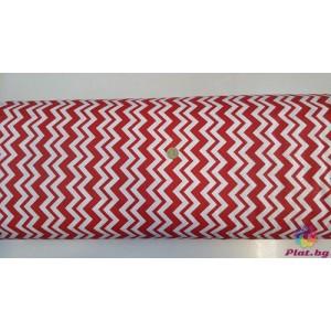 Ранфорс бяла основа на червен малък и голям зиг заг произведено в Турция