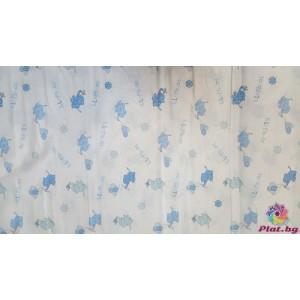 Ранфорс бяла основа със сини слончета с балони платове Турция