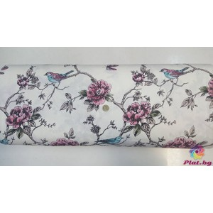Ранфорс бяла основа с врабче и цветя платове Турция