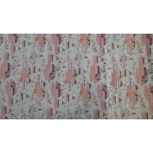 Ранфорс бяла основа с розови палатки произведено в Турция
