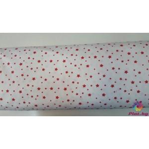 Ранфорс бяла основа с червени малки и големи звезди платове Турция