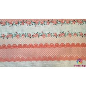 Ранфорс десен с точки и цветя няколко цвята 2 плат