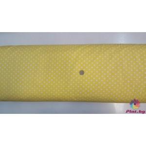 Ранфорс жълта основа на големи бели точки произведено в