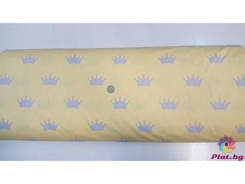 Ранфорс жълта основа със сиви коронки платове Турция