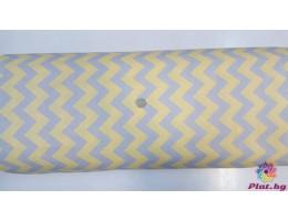Ранфорс жълта основа със сив зиг заг