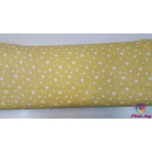 Ранфорс жълта основа с бели малки и големи звезди платове Турция