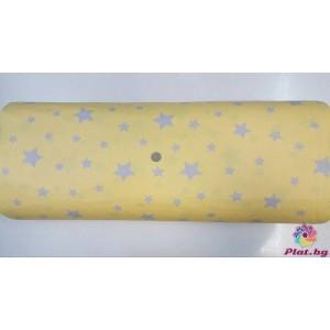 Ранфорс жълта основа с малки и големи сиво-сини звезди произведено в Турция