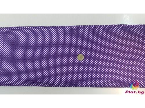 Ранфорс лилава основа на малки бели точки произведено в Турция