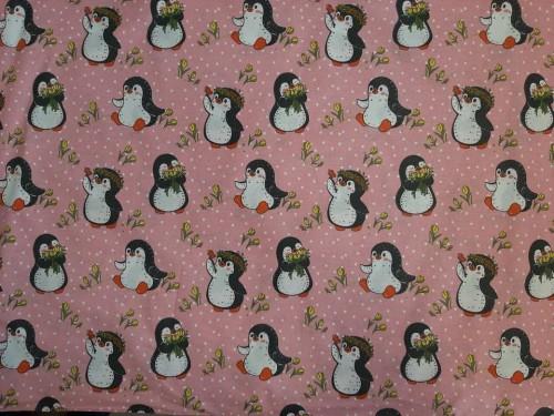 Ранфорс на розови пингвини плат Турция