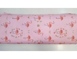 Ранфорс на розово основа и розово фламинго