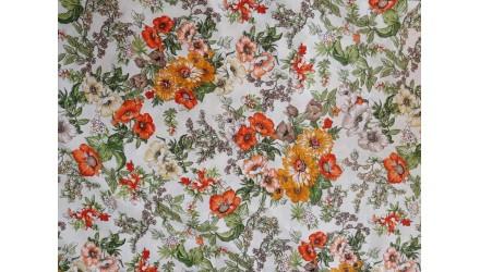 Ранфорс на цветя оражево/черван гама