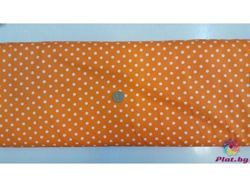 Ранфорс оранжева основа на голeми бели точки плат Турция
