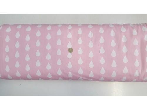 Ранфорс розова основа на бели капки произведено в Турция