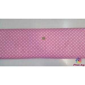 Ранфорс розова основа на голeми бели точки произведено в