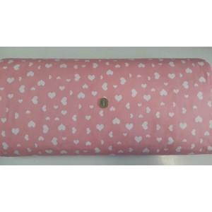 Ранфорс розова основа с бели малки и големи сърца платове Турция