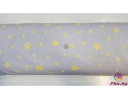 Ранфорс сива основа с жълти звезди
