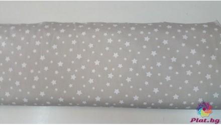 Ранфорс сиво-бежаво основа с бели малки и големи звезди