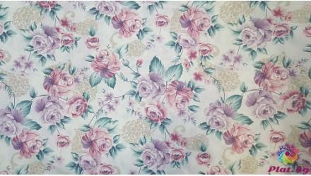 Ранфорс с десен на рози няколко цвята 1