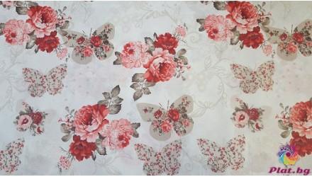 Ранфорс с десен на рози няколко цвята 2