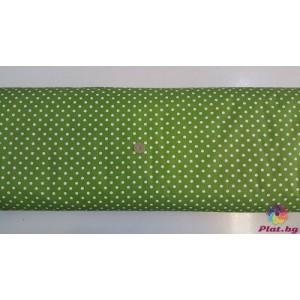 Ранфорс тревисто зелено основа на голeми бели точки произведено в Турция
