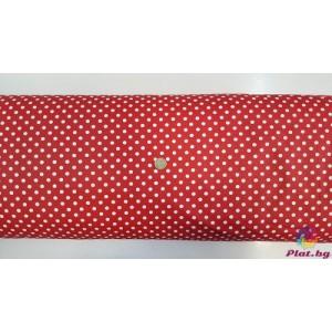 Ранфорс тъмно червена основа с големи бели точки плат Турция