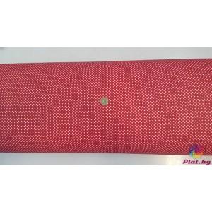 Ранфорс червена основа на малки бели точки плат Турция