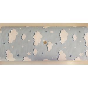 Ранфорс десен на облаци син плат Турция