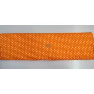 Ранфорс оранжева основа на големи бели точки плат Турция