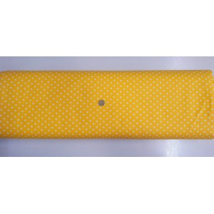 Ранфорс патешко жълта основа на големи бели точки плат Турция