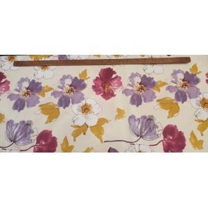 Хидрофобиран бяла основа на бордо,лилави и жълти цветя платове Турция