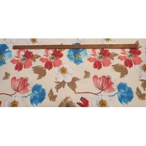 Хидрофобиран бяла основа на бяли, червени и сини цветя произведено в Турция