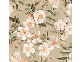 Лонета десен с клонче, листа и големи бели цветя 1