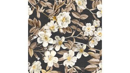 Лонета десен с клонче, листа и големи бели цветя 2