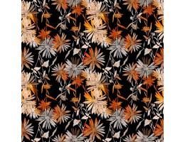 Лонета черна основа с шарени цветя