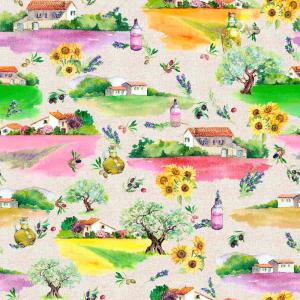 Лонета десен пейзажи с къщи произведено в Испания