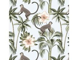 Лонета десен с маймун и палми